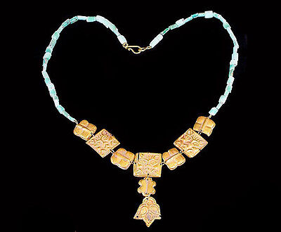 Graeco-Bactrian necklace comprising gold plaques and turquoise beads.  x4014