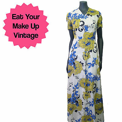 Vintage 1970s White Blue Yellow Psychedelic Floral Flower Print Maxi Dress 12 14