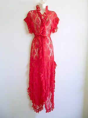 Vtg 70s 80s FREDERICK'S of HOLLYWOOD Peignoir Robe Sheer RED LACE Sexy Erotic OS