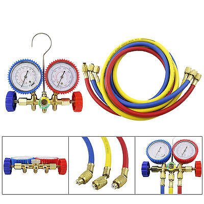 R12 R22 R502 HVAC A/C DIAGNOSTIC MANIFOLD GAUGE SET W/3 Color CHARGING HOSES
