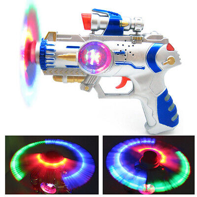 LED Space Toy Gun Pistol Flashing Light Multi-Color & Sound Effects Plastic Toys
