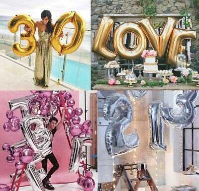 40 Inch Gold/Silver Huge Foil Balloons Alphabet Letter & Number Party Decoration