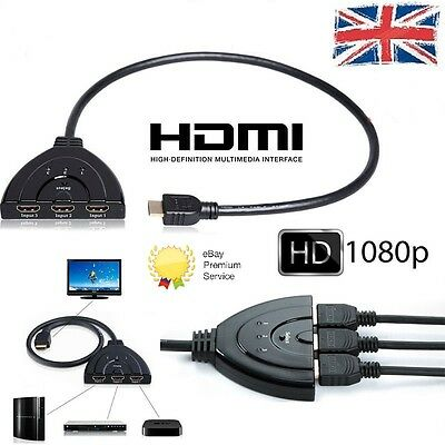 3 Port HDMI 1080P Multi Switch Splitter Cable Switcher HUB Box LCD HDTV PS3 Xbox