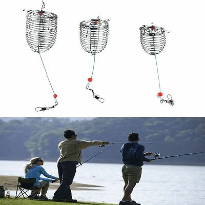 3PCS Fishing Lure Cage Bait Catch Holder Stainless Steel Trap Basket Feeder