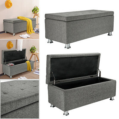 Cubed Chenille Fabric Storage Ottoman Bench Toy Blanket Box Chest Grey NEW