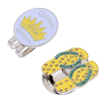 2Pcs Sturdy Sandals & Letter Magnetic Hat Cap Visor Clip-on Golf Ball Marker