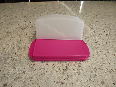 Tupperware Impressions butter dish opaque and pink New