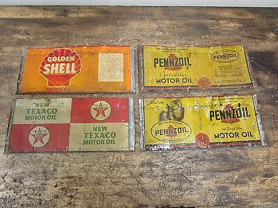 Lot of 4 Vintage Motor Oil Cans- Pennzoil Owls, Shell, Texaco