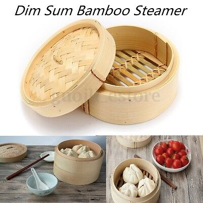"""6"""" Inch Bamboo Steamer Chinese Sum Dim Basket Rice Pasta Cooker Set with Lid"""