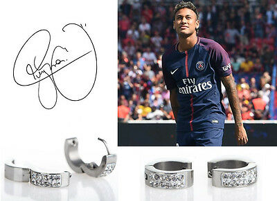 Men's/Boy's: NEYMAR - PSG 18ct White Gold Plated Diamond Effect Huggie Earrings