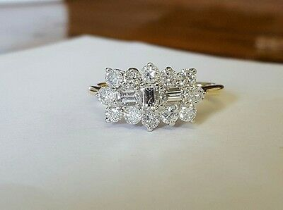 18ct gold diamond cluster ring 1ct