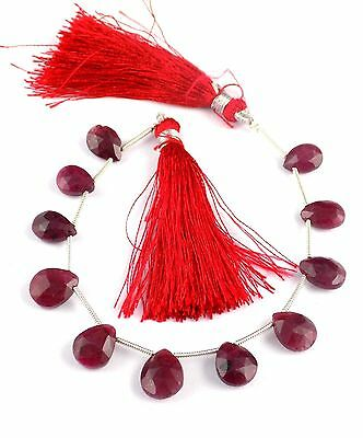 "1 Strand Ruby Corundum Gemstone Pear Shape 7x9-10x14mm Briolette Beads 7"" Long"
