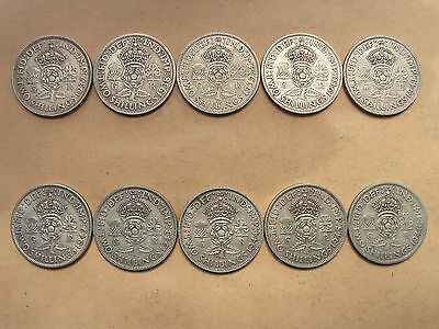 date run of George VI silver two shillings - 10 coin set
