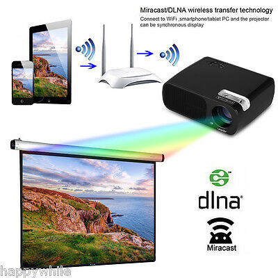 LED 5000 Lumenes HD 1080P Proyector Bluetooth+ WiFi+Android 1+8GB Home teatro EU