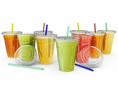 16oz Plastic CRYSTAL CLEAR Cups,Smoothie Cold Drinks 60 pack Lids and Straws