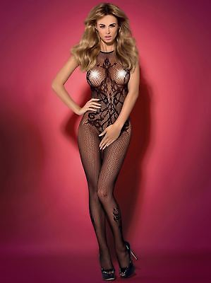 Sexy Black Fishnet Catsuit Bodystocking With Open Crotch Obsessive G308 S/L XXL