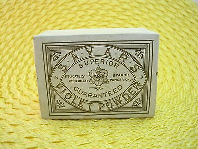 Victorian Savars Violet Powder Box Full Great Shape Gold on Cream Paper SHP