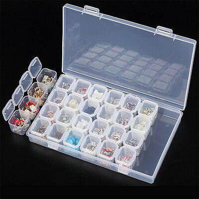 28 Slots Empty Transparent Nail Art Rhinestone Storage Box Case Organizer Tools