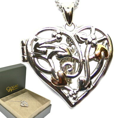 Clogau Silver & Rose Welsh Gold Fairy Heart Locket Necklace rrp £129