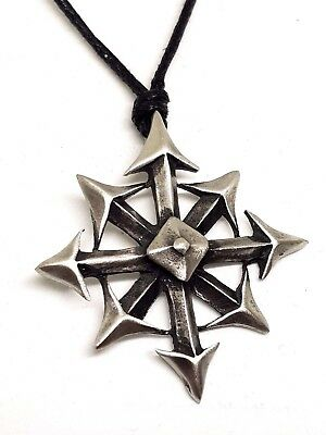 """Large WHEEL OF CHAOS Chaos Star, Chaostar Symbol of 8, Pendant 18 - 30"""" Necklace"""