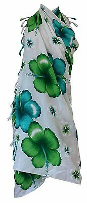 Siam Secrets White Floral Sarong Beach Wrap Pareo 5 Options Large Green Flower