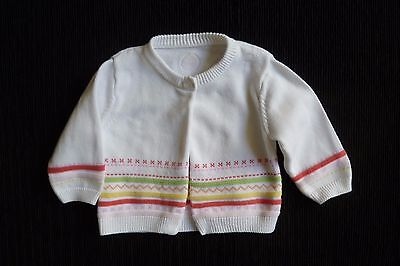 Baby clothes GIRL 0-3m Mothercare white,pink,yello,green pattern cardigan cotton