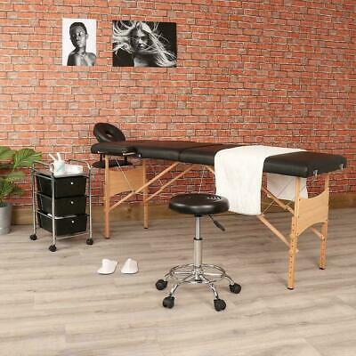 Black Portable Massage Professional Starter Set - Inc. Table, Stool, Trolley