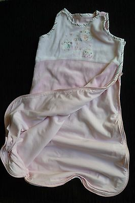 Baby clothes/bedding GIRL 3-6m pink velour sleep bag 1-tog birds zip cottonlined