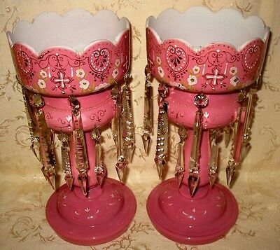"Outstanding Victorian Pair of Rose Pink Opaline Glass Lusters, 14.25"" in tall"