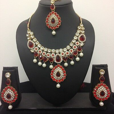 Gold Blue Pink Indian Bollywood Costume Jewellery Necklace Set Wedding Party