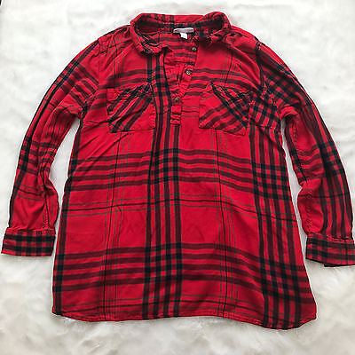 Liz Lange Maternity for Target Red Flannel Top with Tie Long Sleeve Size XXL