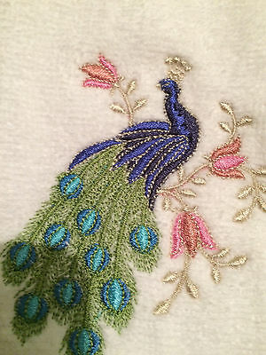 Set of 2 Embroidered Tea Towels w/MultiColor Zundt Peacock designs free shipping
