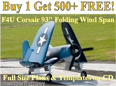 """F4U Corsair 93"""" Folding WS Giant Scale RC Airplane Plans & Templates on CD"""