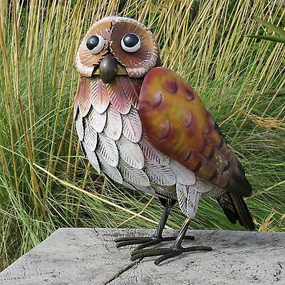 Large Metal Owl Garden Ornament With Realistic Feathers