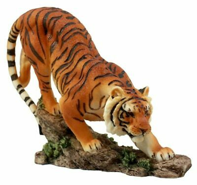 "Orange Bengal Tiger Figurine 7.2""L Indian Sumatran Cat Wildlife Statue Sculpture"