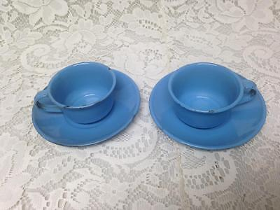 Vintage, French Blue Enamelware, 4pc Childs Cups and Saucers