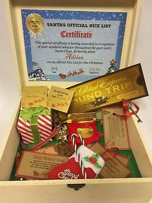 Personalised Christmas Eve Box Gift Believe Jingle Bell Polar Express Ticket