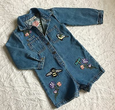 Baby Girl Next playsuits Blue Denim With Badges age 18-24 Months