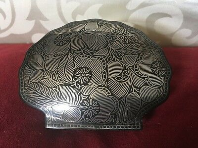 Superb Silver Plated Trinket Box Shell Form With Black Niello Type Decoration