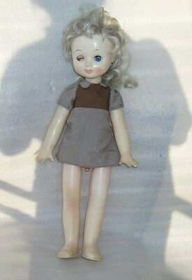 Rare Vintage Walking Plastic Doll In Original Dress, Ussr