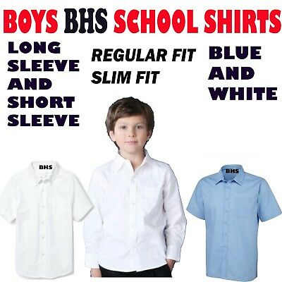 Boys BHS Pack Of 2 School Shirts Non Iron Long,Short Sleeves Regular And Slim
