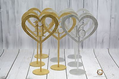 Heart Wood Table Number With Stick Holder Base Different Colors Buy 4 Get 1 Free