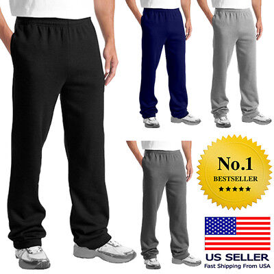 Mens Casual Sweatpants Fleece GYM Workout Sports Active Solid Cotton Pants