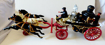 VTG Cast Iron Pump Engine three Horse Drawn Fire Toy Display Reproduction NEW