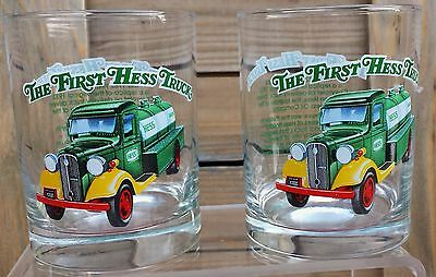 Collectible First Hess Truck From 1996 On The Rocks Pair Of Drinking Glasses
