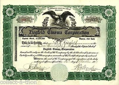 REPRINT of OUR OWN RARE 1917 ZIEGFELD CINEMA STOCK ISS TO/SIGNED BY WK ZIEGFELD!