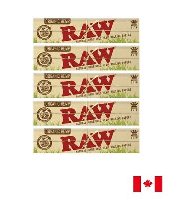 RAW Organic Hemp King Size Slim Natural Unrefined Rolling Papers - 5 Booklets