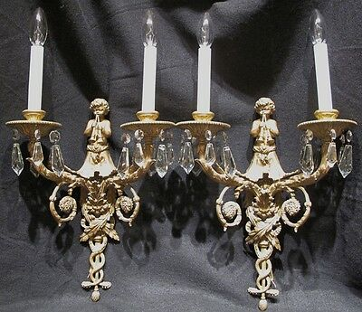 *REDUCED* Vintage Bronze Crystal French Style Sconces Putti Playing Flutes c40s