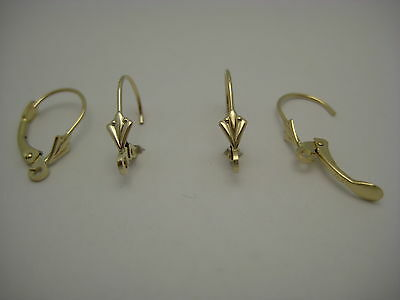 Lot Of Two Pairs Solid 14k Yellow Gold Lever Back Earring Findings Made In USA