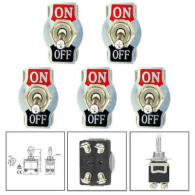 5 X Car 20A 125V 15A 250V DPST 4Pin ON/OFF Metal Rocker Toggle Switch ATM